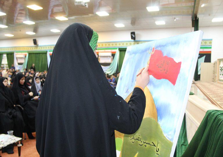 نقاشی زنده در مراسم اختتامیه چهاردهمین یادواره کودک و محرم